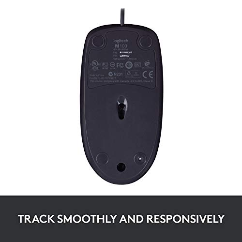 Logitech B100 Optical USB Ambidextrous Mouse for Windows, Mac and Linux -  Black